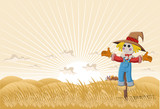 Fototapety Farm landscape with cartoon scarecrow