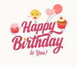 Happy Birthday typographic illustration with cartoon cupcakes