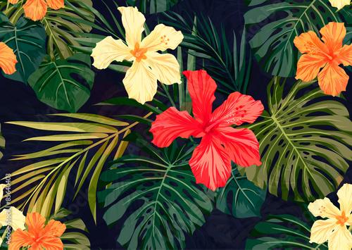 jaskrawy-kolorowy-tropikalny-bezszwowy-tlo-z-liscmi