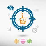 Pictograph of cake on target icons background. poster