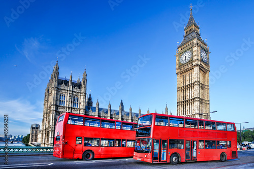 Big Ben with buses in London, England Poster