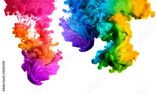 fototapeta na ścianę Rainbow z akrylu atramentu w wodzie. Eksplozja kolorów