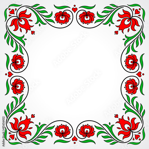 Fototapeta Empty frame with traditional Hungarian floral motives