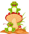 Happy frog cartoon sitting on mushroom