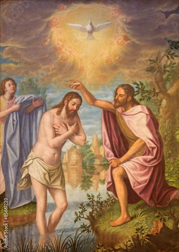 Naklejka Granada - Baptism of Christ painting in Monasterio de la Cartuja