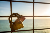 Rusty love locks hanging on the fence as a symbol of loyalty and