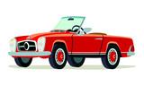 Caricatura Mercedes Benz 280SL Pagoda rojo convertible vista frontal y lateral