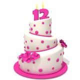 Fototapety Birthday cake with number twelve