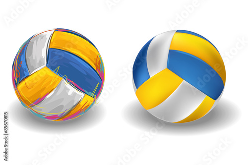Fototapeta Volleyball Isolated on white Background. All elements are in separate layers and grouped.