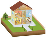 Fototapety Isometric house interior with yard