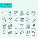 Fototapety Thin line icons set. Icons for online education, video tutorials, training courses.