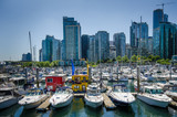 Colorful houseboats are moored in the marina in Vancouver BC alongside motor boats and sailing yachts with the city skyline in the background. - 85680889