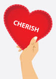 right hand holding red heart with cherish text, vector illustration poster