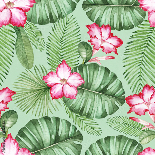 Materiał do szycia Watercolor seamless tropical pattern