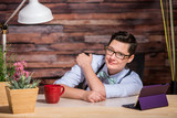 Easygoing Lesbian Working at Desk poster