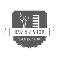 Vintage barbershop logo in gray color.