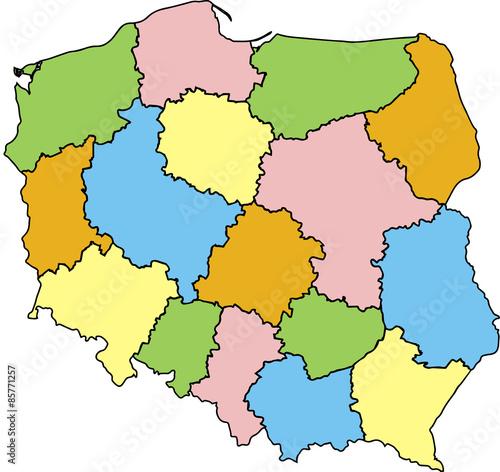 Fototapeta Mapa Polski Województwa Kolorowa