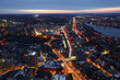 An aerial night view of Boston and the expressways, Massachusetts
