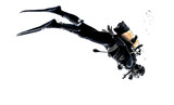 man scuba diver diving silhouette isolated - 85781818