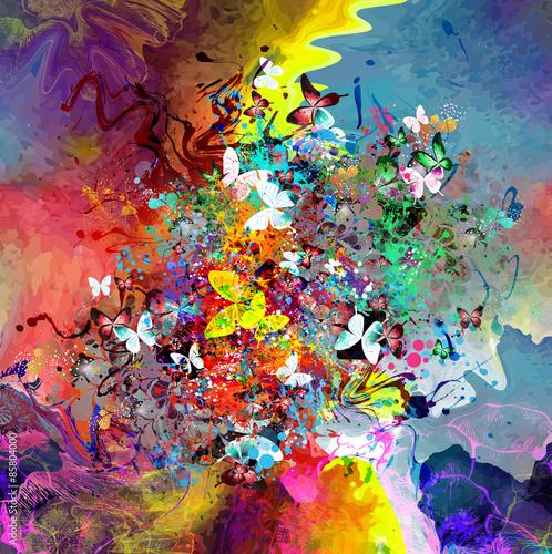 Красочная Гармония фон с бабочками