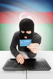 Cybercrime concept with national flag on background - Azerbaijan poster