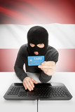 Cybercrime concept with national flag on background - Austria poster