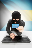 Cybercrime concept with national flag on background - Bahamas poster