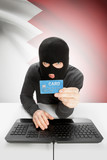 Cybercrime concept with national flag on background - Bahrain poster