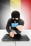 Cybercrime concept with national flag on background - Belgium poster