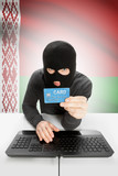 Cybercrime concept with national flag on background - Belarus poster