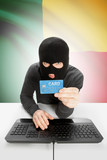 Cybercrime concept with national flag on background - Benin poster