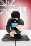 Cybercrime concept with national flag on background - Bermuda poster