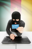 Cybercrime concept with national flag on background - Cameroon poster