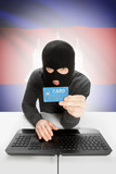 Cybercrime concept with national flag on background - Cambodia poster