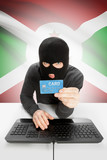 Cybercrime concept with national flag on background - Burundi poster