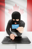 Cybercrime concept with national flag on background - Canada poster