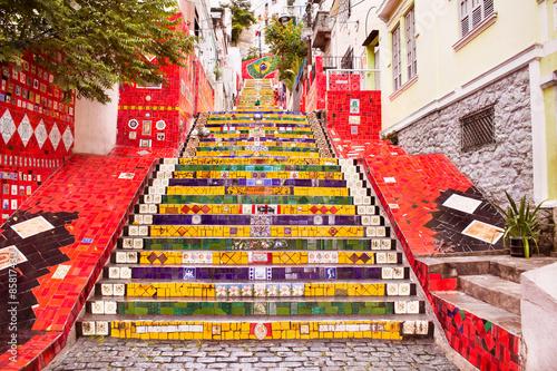 Fotobehang Rio de Janeiro Tiled steps in Lapa, Rio de Janeiro, Brazil