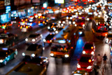 Fototapety Abstract blur of traffic jam in night time of Bangkok city.