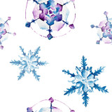 Fototapety Seamless pattern with snowflakes. Watercolor illustration.