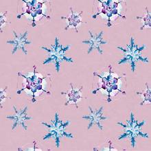 Jednolite wzór z płatki śniegu. Ilustracja akwarela.