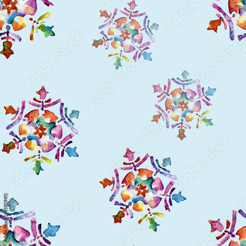 Materiał do szycia Seamless pattern with snowflakes. Watercolor illustration.