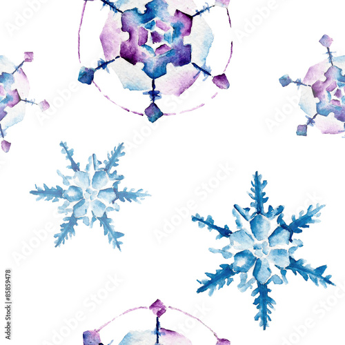 Cotton fabric Seamless pattern with snowflakes. Watercolor illustration.
