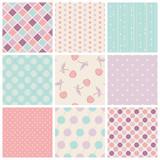 Fototapety set of seamless patterns