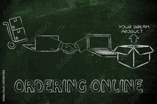 laptops, handshake and parcel: concept of ordering online