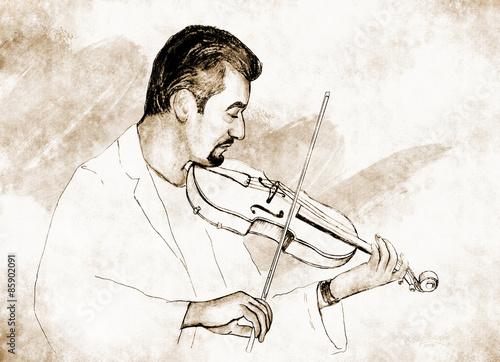 Рисунок-иллюстрация ,,Скрипач ,, . - 85902091