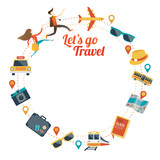 Fototapety Couple run with Travel Objects Icons Round Frame