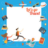 Fototapety Couple run with Travel Objects Icons Frame