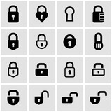 Vector black locks icon set