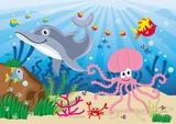 Fototapeta  - ryby,morze,podwodny świat,pod wodą,woda,ryba,rybki,kolorowe,delfin,rak,ośmiornica © monikakosz