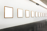 Blank frames on the wall and walkway